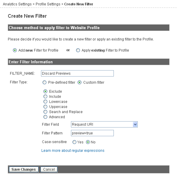 Discard Wordpress previews filter for Google Analytics